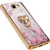For Samsung A9 Pro Heart Ring Crystal TPU Flower Butterfly Case with Detachable Rotating Ring Stand for Samsung Galaxy A9 Pro (Gold)