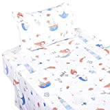 J-pinno Mermaid Play with Fish Boat Twin Sheet Set for Kids Girl Children,100% Cotton, Flat Sheet + Fitted Sheet + Pillowcase Bedding Set