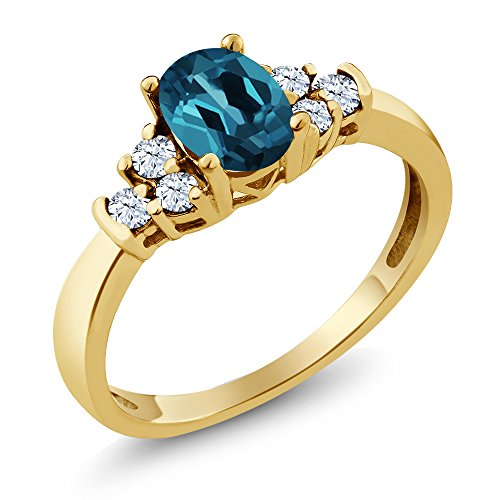 Gem Stone King 0.79 Ct Oval London Blue Topaz White Topaz 925 Yellow Gold Plated Silver Ring