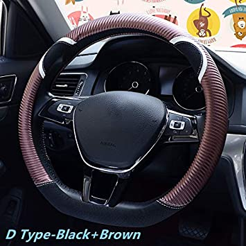 Red Universal D-Shape Cute Carbon Fiber Steering Wheel Cover Synthetic Leather Auto Car Anti-Slip Steering Wheel Cover for Women 15 Inch