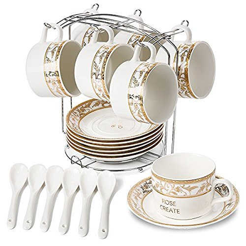 Safe Saucers Oven Cups (ROSE CREATE 6 pcs 5 Oz White Porcelain Coffee Cups and Saucers Sets, Ceramic Coffee Tea Cups set, Golden Edge New Bone China Set with 6 Spoons and an Iron Display Stand (Pack of 6))