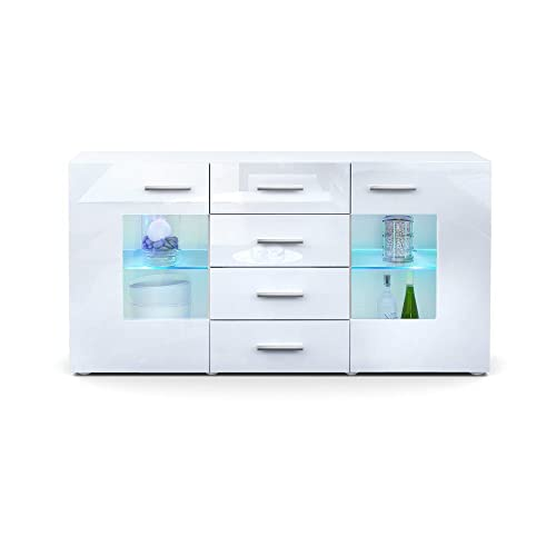 Coffee Table Layers White High Gloss Amazon Co Uk Kitchen: Vladon Sideboard Chest Drawers Grömitz, Carcass In White