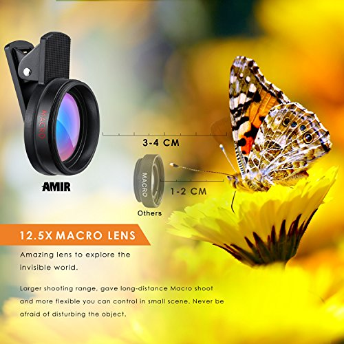 Amir Universal Professional HD Camera Lens Kit with 0.45X Super Wide Angle Lens + 12.5X Macro Lens, Clip-On Cell Phone Lens for iPhone 6s / 6 Plus / 5s, Samsung Galaxy & Most Smartphones
