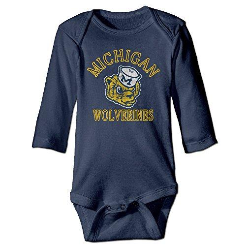 Kids NCAA University Of Michigan Vault Wolverine Long-sleeve Romper (Michigan Wolverines Mike)