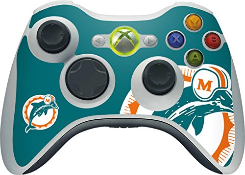 (Skinit NFL Miami Dolphins Xbox 360 Wireless Controller Skin - Miami Dolphins Retro Logo Design - Ultra Thin, Lightweight Vinyl Decal Protection)