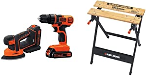 BLACK+DECKER 20V MAX Cordless Drill/Driver Kit w/Sander & Workmate Portable Workbench, 350-Pound Capacity (BD2KITCDDS & WM125)