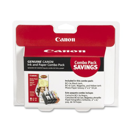 Canon 4479A292 BCI-3e/BCI-6 Cartridges and Glossy Photo Paper Combo Pack