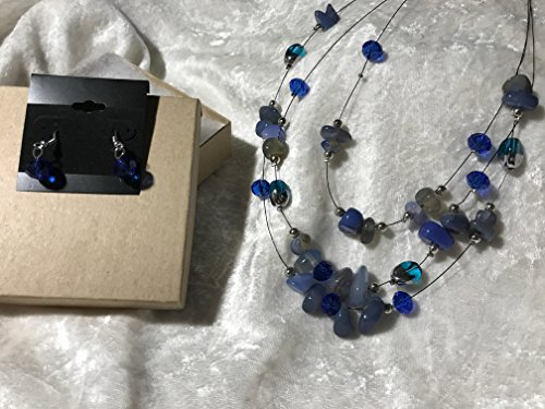 blue agate gemstone beaded 3 strand adjustable necklace and dangle earrings set