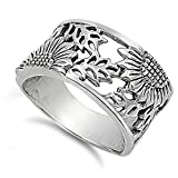 Sterling Silver Sunflower Filigree Design Ring Size 8