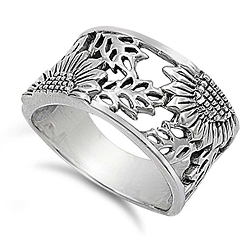 Sterling Silver Sunflower Filigree Design Ring Size 8 by Oxford Diamond Co
