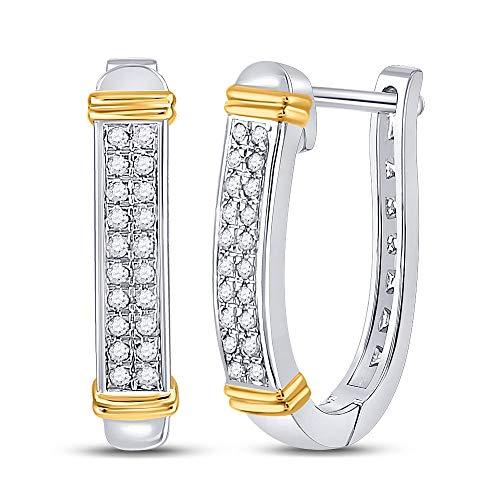 10kt Two-tone Gold Womens Round Diamond Oblong Hoop Earrings 1/6 Cttw