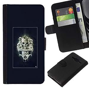 All Phone Most Case / Oferta Especial Cáscara Funda de cuero Monedero Cubierta de proteccion Caso / Wallet Case for Samsung Galaxy Core Prime // Nightmare Skulls