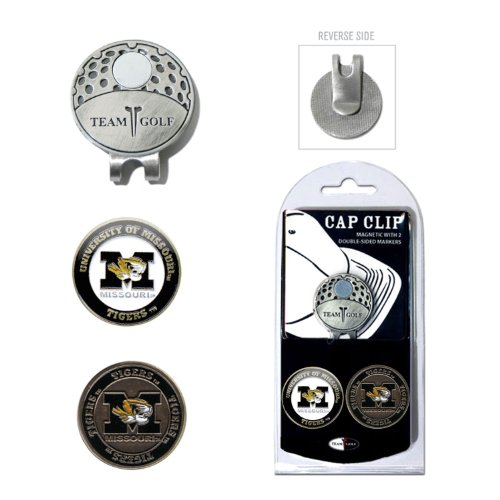 Team Golf NCAA Missouri Tigers Golf Cap Clip with 2 Removable Double-Sided Enamel Magnetic Ball Markers, Attaches Easily to Hats