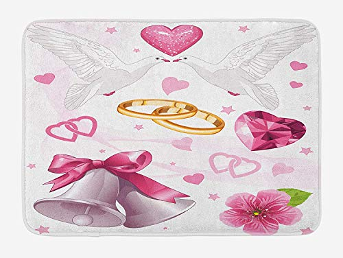 lsrIYzy Wedding Bath Mat, Wedding Themed Artwork Invitation Announcement Hearts Rings Birds Happiness, Plush Bathroom Decor Mat with Non Slip Backing, 23.6 x 15.7 Inches, Pink White Gold