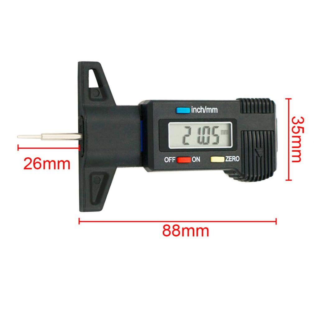 Onsinic Auto-Reifen-Digital-Reifen Profiltiefe Tester Messger/ät Meter Vermesser f/ür Motorrad LKW Autozubeh/ör 0-25.4mm 0.01mm