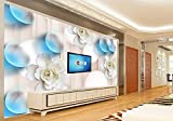Lwcx 3D Wallpapers Ceramic Flower Ball Living Room Background Murals White Wallpaper 200X140CM