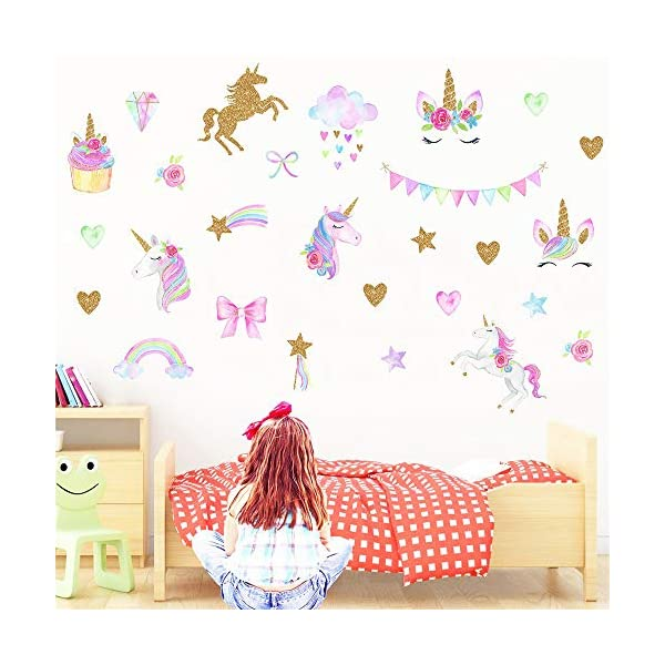 Hicdaw 110PCS Decoration for Unicorn Wall Stickers 3 Pack 2 Styles for Unicorn Wall Decal with Heart Flower Birthday… 6