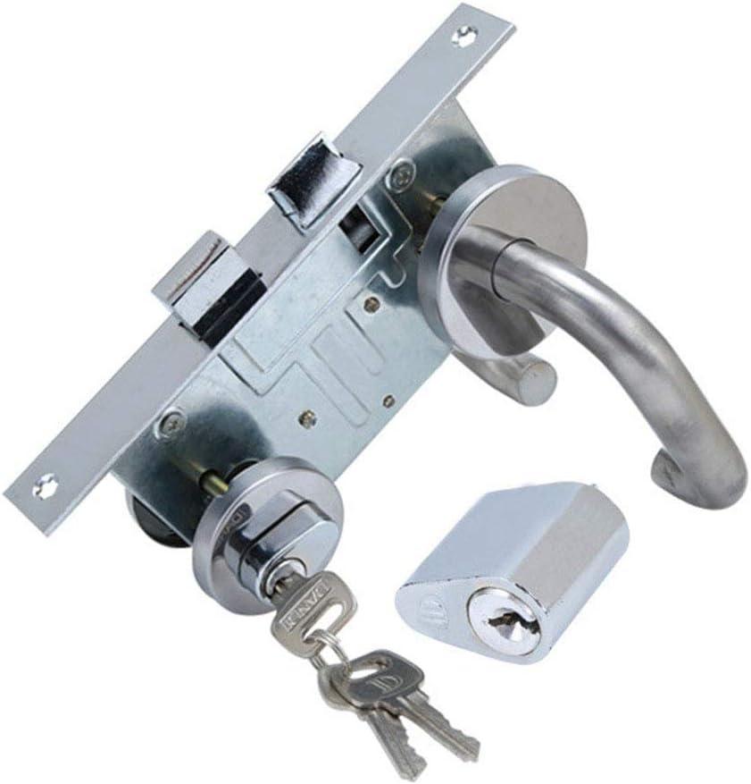 Cerradura para Puerta Cerradura de Palanca de Acero Inoxidable, Juego Completo de Herrajes 2 Manijas + Cerradura (DIN Trampa Izquierda / Derecha y Pestillo Central) + Cilindro Perfilado