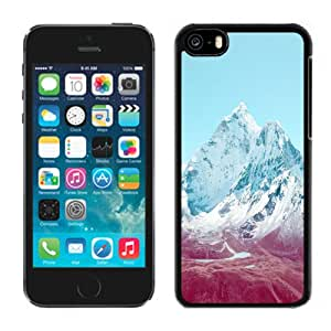 Beautiful Designed Antiskid Cover Case For iPhone 5C Phone Case With Apple iOS7 Stock Lock Screen Mountains_Black Phone Case
