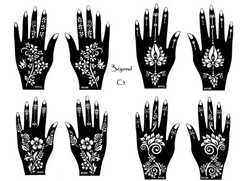 Mehandi Schablonen 8 Stück Set C3 Henna Designs zur einmaligen Verwendung für Hände auch für Glitter Tattoo und Air Brush Tattoo geeignet Beyond