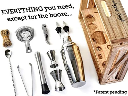 Mixology Bartender Kit 11-Piece Bar Tool Set with Rustic Wood Stand – Perfect Home Bartending Kit and Cocktail Shaker Set For an Awesome Drink Mixing Experience – Exclusive Cocktail Recipes Bonus