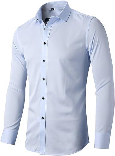 Camisa elástica Hombre, Manga Larga, Slim Fit, Casual/Formal Ambos Disponible y múltiples Colores para Elegir, Celeste, Cuello 39CM, Manga 83CM: Amazon.es: Ropa y accesorios