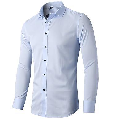 INFLATION Herren Hemd aus Bambusfaser umweltfreudlich Elastisch Slim Fit  für Freizeit Business Hochzeit Reine Farbe Hemd Langarm Herren-Hemd, Gr  XXS-2XL, ... 97e3e261e6