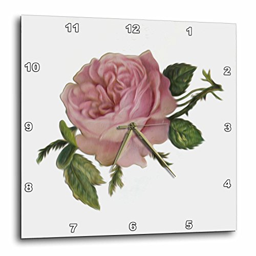 3dRose dpp_104602_3 Lovely Victorian Vintage Pink Rose Floral Digital Oil Painting-Wall Clock, 15 by 15-Inch (Rose Victorian Mirror)