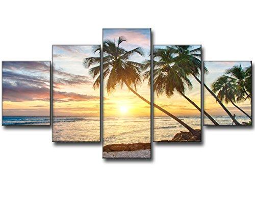 Modern Beach Painting, Beautiful Large Sunset Landscape Ocea