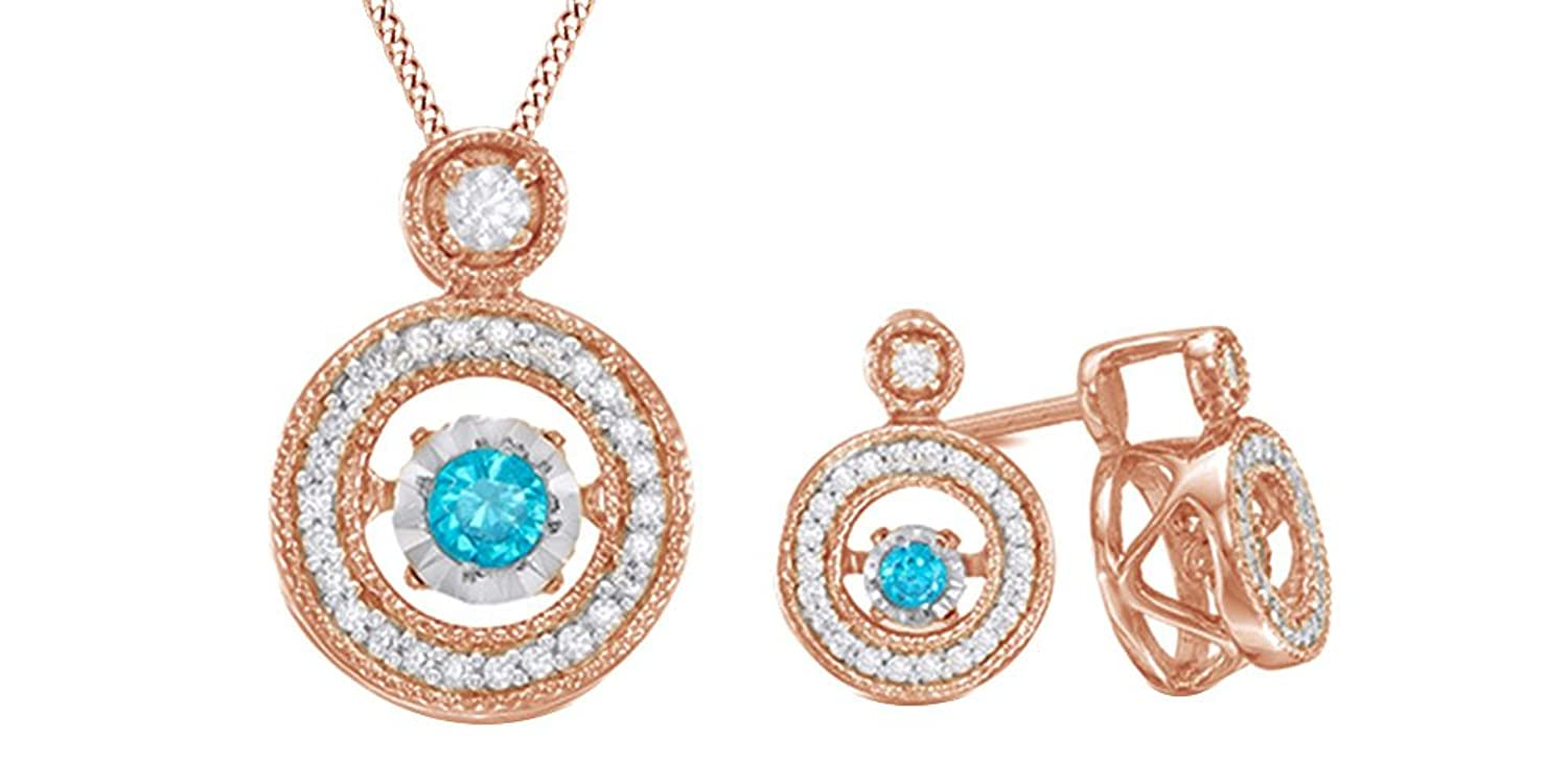 Dancing Blue & White Natural Diamond Pendant & Earrings Set In 14K Gold Over Sterling Silver (1/3 Ct)