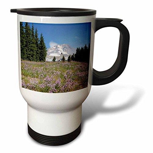 3dRose Oregon Mt. Hood Timberline Lodge Mt. Hood, Stainless Steel Travel Mug, 14-Oz