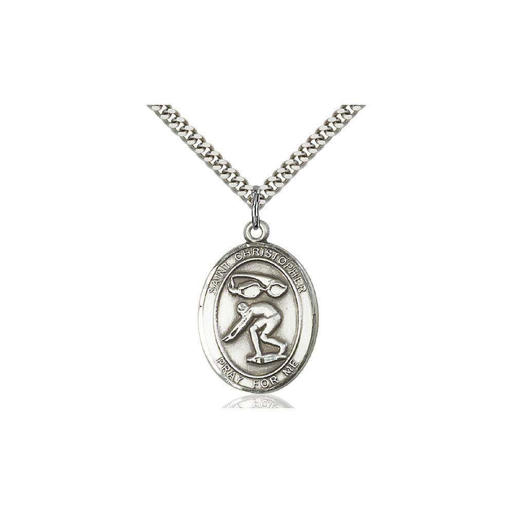 DiamondJewelryNY Sterling Silver St Christopher//Swimming Pendant