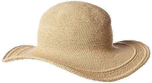 San Diego Hat Company Women's Cotton Crochet 4 Inch Brim Floppy Hat, Tan, One Size