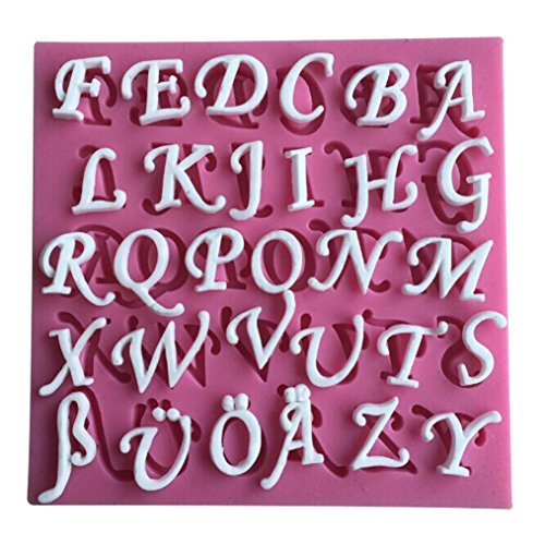 Letter English Alphabet - FLY 26 English Letters Fondant Silicone Cake Mold Cooking Tools,Pink