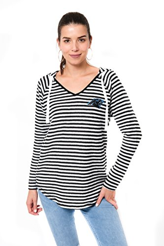Ultra Game Adult Women V-Neck Hoodie Pullover Stripe Sweatshirt, Team Color, Black, X-Large