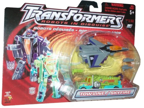 Transformers Robots In Disguise 2001 Action Figures - Autobot Towline and Decepticon Skyfire