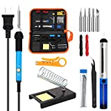 ANBES Soldering Iron Kit Electronics, 110V 60W Adjustable Temperature Welding Tool, 5pcs Soldering Tips, Desoldering Pump, Tin Wire Tube, Stand, Tweezers, Wire Stripper Cutter,2pcs Electronic Wire