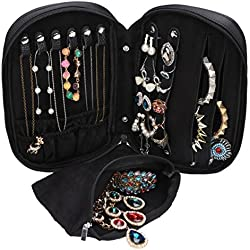 WODISON Zipper Carry-on Travel Jewelry Case Organizer with Removable Pouch Black