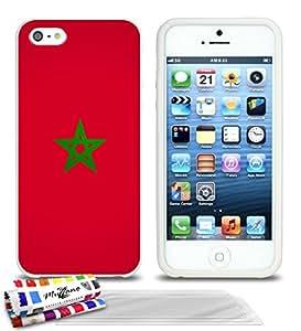 Carcasa flexible Ultrafina Blanca Original de MUZZANO estampada Bandera Marruecos para APPLE IPHONE 5S + 3 películas de protección UltraClear para la pantalla