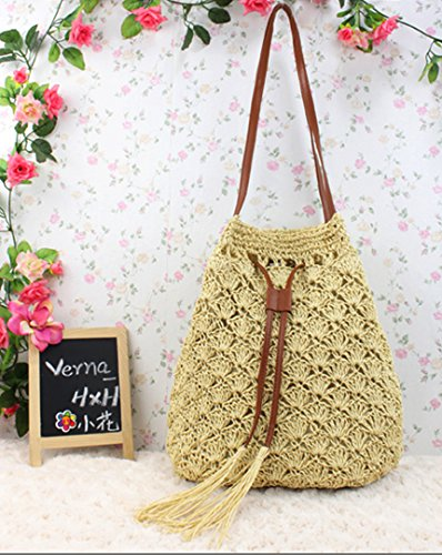 Tote Beige Drawstring Straw Women Summer Holiday Bgas Shoulder Beach Handbags LA Beige Haute Bags wvXqnO4