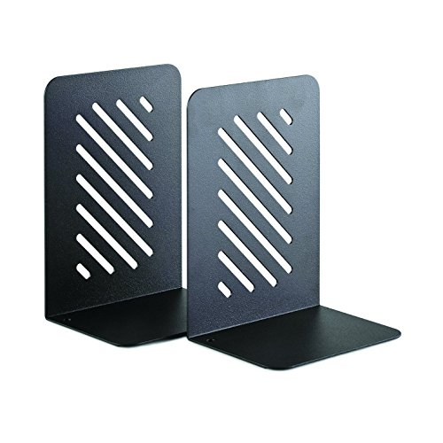 STEELMASTER Heavy Duty 8-Inch Slotted Bookends, 1 Pair, Black (24490004)