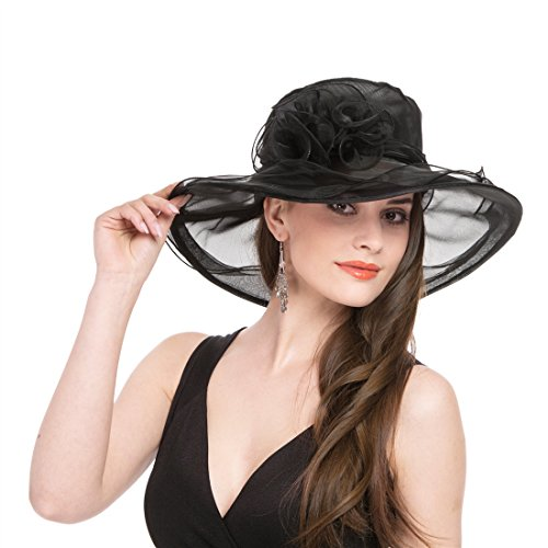 SAFERIN Women's Organza Church Kentucky Derby Fascinator Bridal Tea Party Wedding Hat (1-Black) by SAFERIN (Image #3)