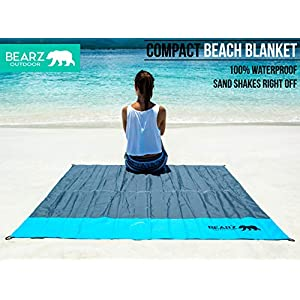 BEARZ Outdoor Beach Blanket, Waterproof Picnic Blanket 55″x60″ – Lightweight Camping Tarp, Compact Pocket Blanket…
