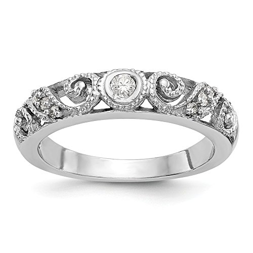 14k White Gold Round Cut 0.125ct H-SI2 Diamond Wedding Band Size (0.125 Ct Round Diamond)
