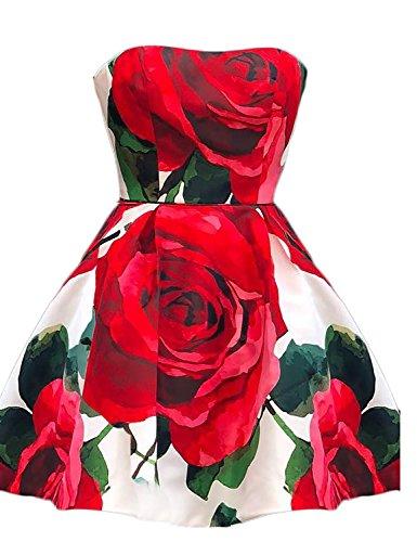 Da Pm01 Rosso Sera Abito Womens Formale Ballo Commerciale Centro Floreali Stampati Rosso Abiti Palla Brl Breve Lungo Partito Z4T0wUZq