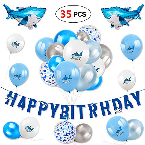 Konsait Shark Decoration for Kids Happy Birthday Banner Latex Balloon Confetti Balloon Foil Mylar Balloons Shark Zone Under The Sea Ocean Shark Themed Birthday Bay Bday Decor (35Pack)]()