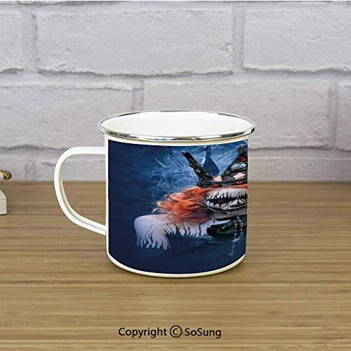 Queen Enamel Coffee Mug,Queen of Death Scary Body Art Halloween Evil Face Bizarre Make Up Zombie,11 oz Practical Cup for Kitchen, Campfire, Home, TravelNavy Blue Orange Black -