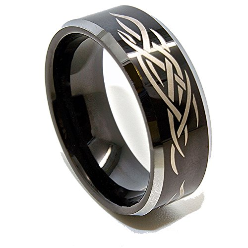 Tribal Flame Designs - 8mm Black Tungsten Carbide Tribal Flame Design Wedding Band Size 11