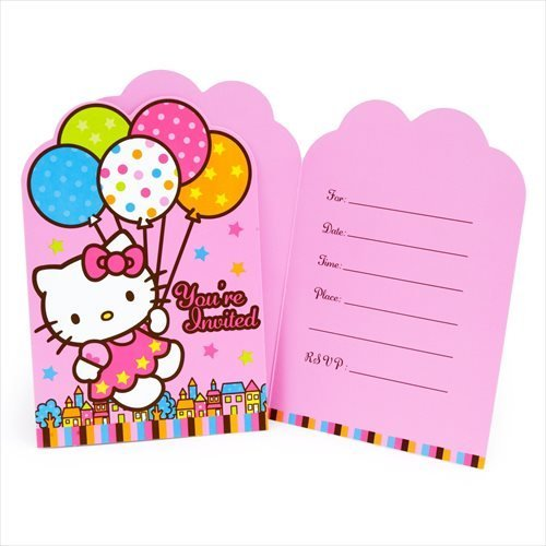 - amscan Hello Kitty 'Balloon Dream' Invitations w/ Envelopes and Stickers (8ct)