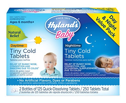 Hyland's Baby Day & Night Tiny Cold Tablets, Natural Relief of Runny Nose, Congestion, and Occasional Sleeplessness Due to Colds, 250 Quick-Dissolving Tablets